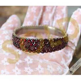 Antique Victorian Bohemian Garnet Four Row Hinged Cluster Bracelet with Large Garnets