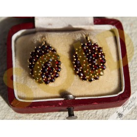 Vintage Bohemian Garnet Cluster Earrings Rose Cut