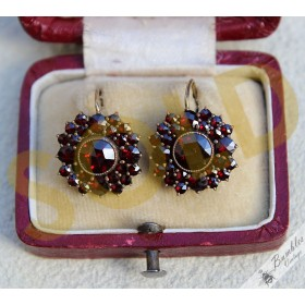Large Antique Bohemian Garnet Cluster Earrings Tombak