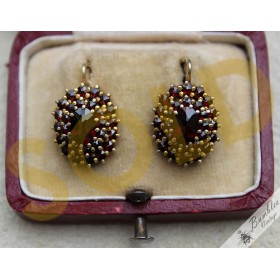 Vintage Bohemian Garnet Cluster Silver Gilt Lever Earrings