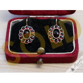 Beautiful Vintage Flower Bohemian Garnet Earrings 900 Silver Gilt