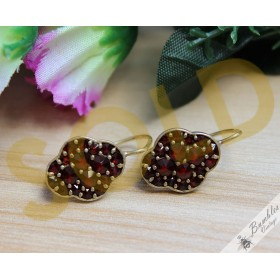 Unusual Vintage Bohemian Garnet Cluster Earrings 900 Silver Gilt