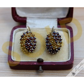 Vintage Bohemian Garnet Cluster 900 Silver Gilt Lever Earrings