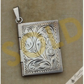 Vintage Art Deco 835 Silver Bohemian Book Locket Pendant