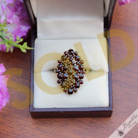 Vintage Bohemian Garnet Statement Cluster Ring Silver size 8.5, Q