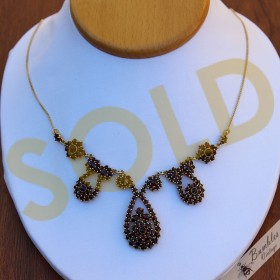 Vintage Bohemian Garnet Statement Necklace Silver Gilt