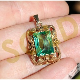 Vintage Bohemian Floral Green/Aqua Gold over Silver Pendant