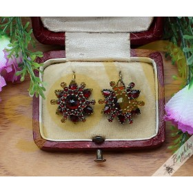 Exquisite Antique Bohemian Garnet Starburst Earrings Tombak Victorian Era
