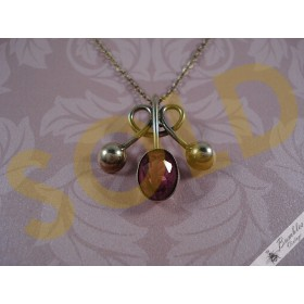 Romantic European Vintage Silver Gilt Vermeil Pink Czech Faceted Glass Necklace
