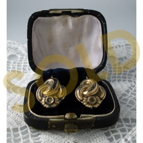 Antique Biedermeier European Knot Swirl Earrings Brass Faux Gold