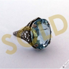 Art Deco Filigree Vintage 9ct Natural Aquamarine Ring Sterling Silver