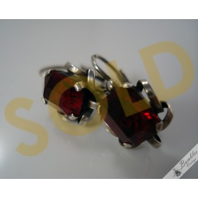 Art Deco Vintage Silver Earrings with Red Faceted Simulated Garnet Stones c1930