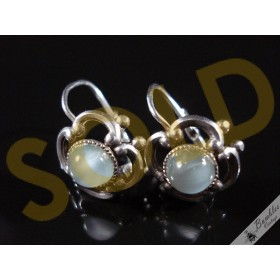 Art Deco Vintage Simulated Opal Silver Lever Earrings