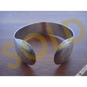 Vintage Finely Decorated 835 Silver Engraved Cuff Bangle Floral Flower Etching