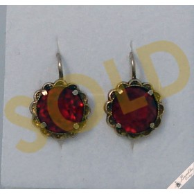 Lovely Vintage Bohemian Gold Over Silver Gilt Simulated Ruby Red Lever Earrings