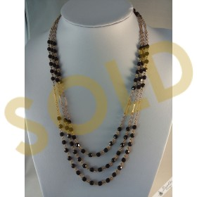 Vintage Three Row Black Faceted Glass Beads with Gold Tone Necklace
