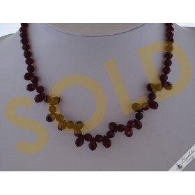 Vintage Faceted Glass Red Garnet Coloured Choker Necklace