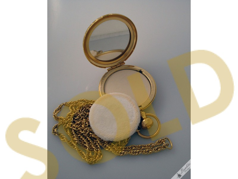Vintage Estee Lauder Etched Gold Pocket Watch Mirror
