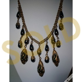 Vintage Large Chunky Hematite Gold Tone Statement Runway Necklace