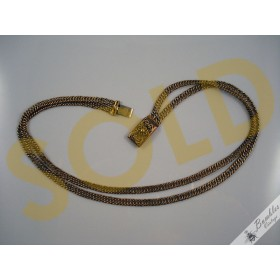 Vintage Gold Plated Two Strand Choker Chain Link Necklace