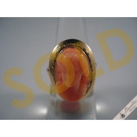 Natural Coral 14k Gold High Relief Carved Cameo Vintage Ring c1930