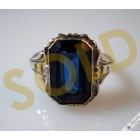 Vintage Silver Bohemian Simulated Sapphire European Ring c1940s
