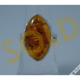Vintage Natural Amber Cabochon Set Solid Sterling Silver Ring