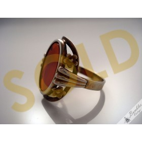 Vintage Retro 1970s 900 Silver Gilt Vermeil Simulated Carnelian European Ring