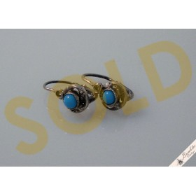 Vintage Petite Small European Lever Earrings Simulated Turqouise