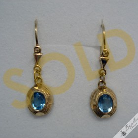 Vintage European 8k Yellow Gold Dangle Drop Lever Earrings sim. Aquamarine Stone