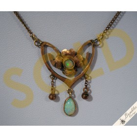 Vintage Art Nouveau European 8k Gold Opal Lavalier Necklace