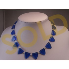 Vintage Blue Glass Choker Necklace 1960s